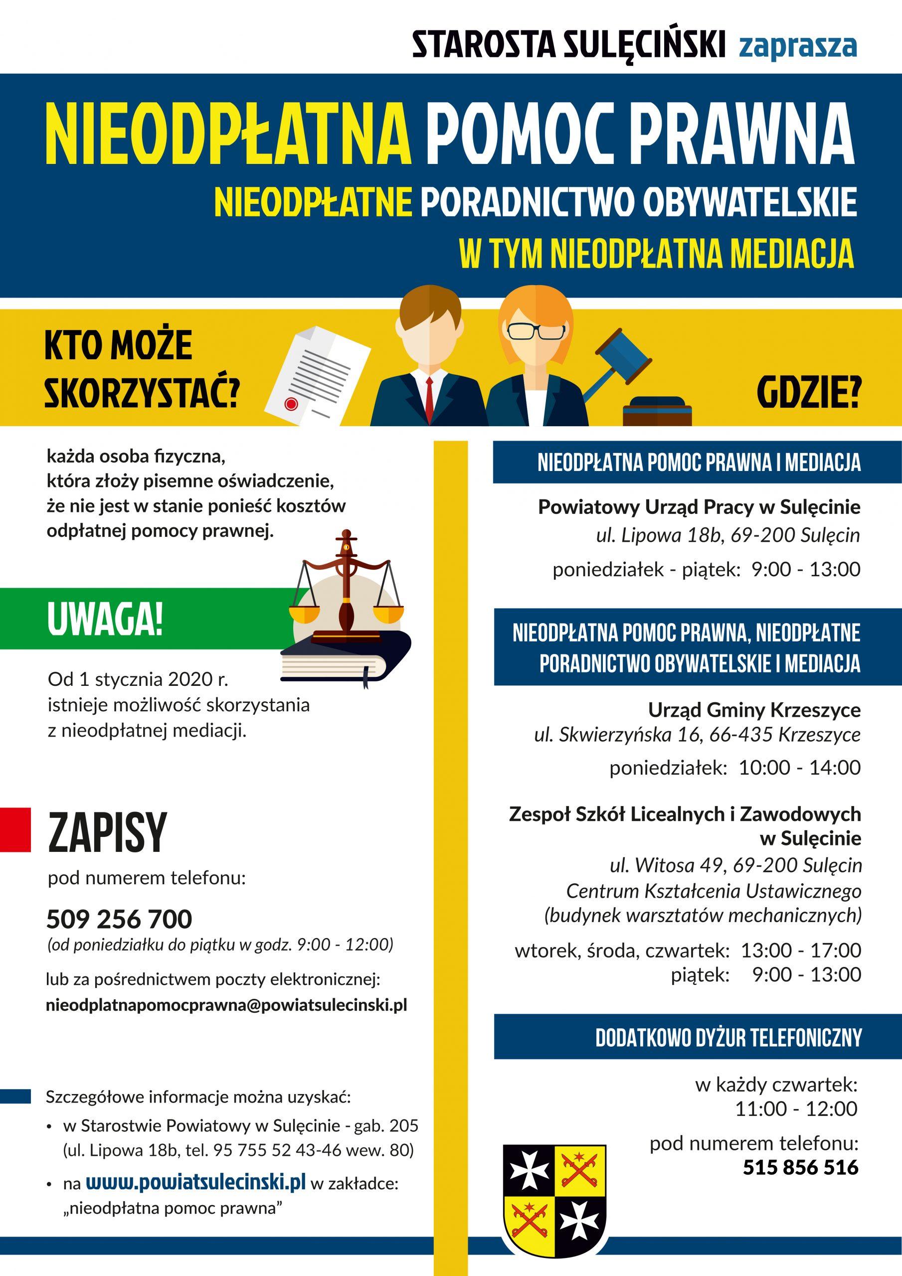 plakat dotczący nieodpłatnej pomocy prawnej
