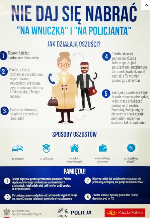 plakat informacyjny dla seniora nie daj się nabrać na wnuczka i na policjanta