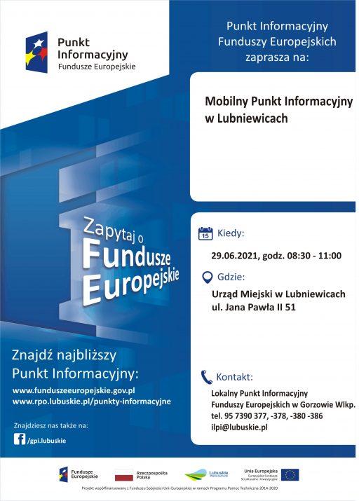 Mobilny Punkt Informacyjny Funduszy Europejskich w Lubniewicach – 29.06.2021