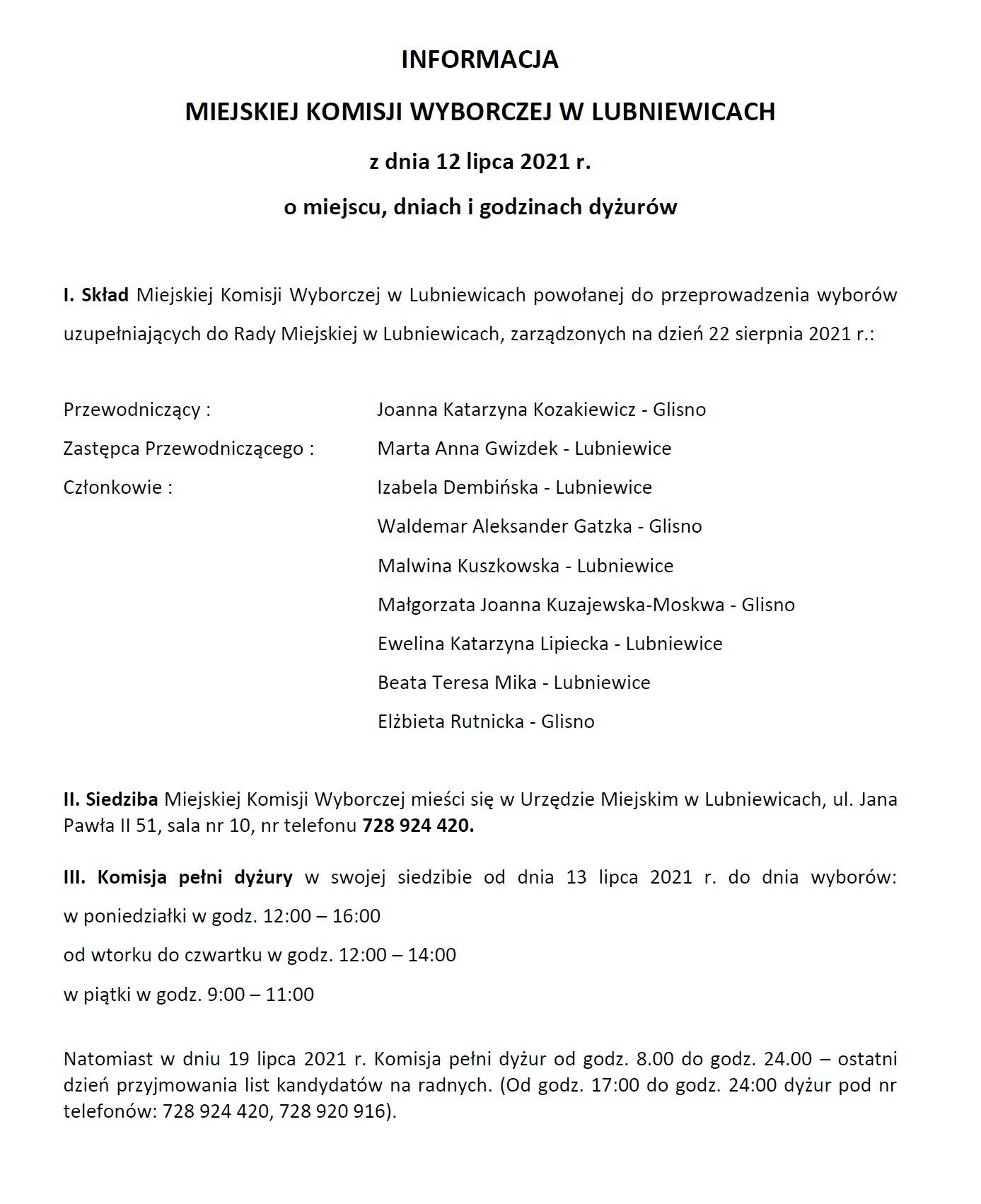 miejska komisja wyborcza w lubniewicach wybory uzupełniające