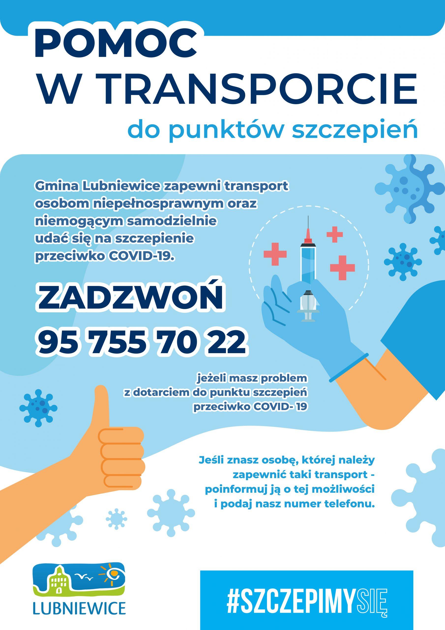 transport-do-punktów-szczepień-lubniewice-2021-plakat
